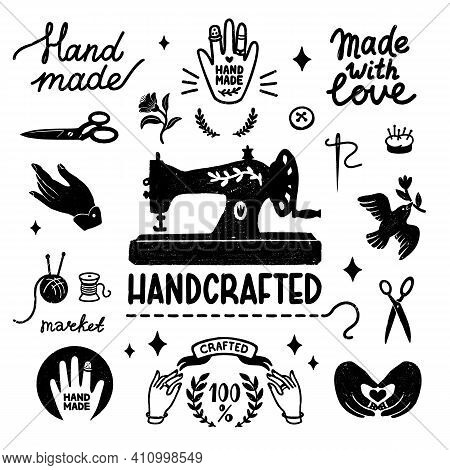 Handmade And Handcrafted Vector Icons Set - Vintage Elements In Stamp Style, Sewing Machine And Hand