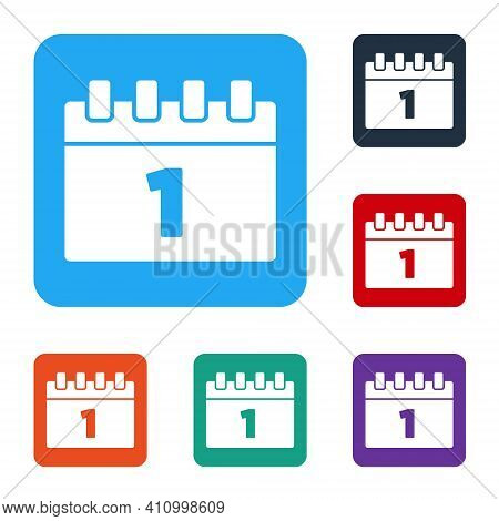 White Calendar With First September Date Icon Isolated On White Background. September 1. Date And Ti