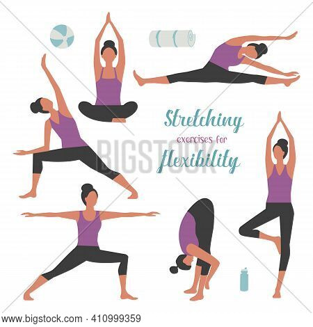 Stretches Exercising Female Simple Vector Icon Set. Fit Woman Doing Stretching Exercises Background.