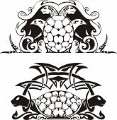 Stylized symmetric vignette with turtles. Vector illustration EPS8 poster