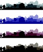 a set of four dark coloured cityscapes poster
