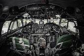 Inside of airplane cockpit. Cockpit interior, nobody poster