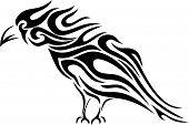 Tribal raven tattoo - illustration in vector format poster