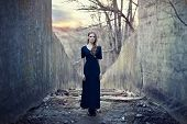 Beautiful Lonely Girl  In Long Dress
