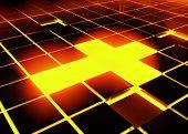 3d Tile Cross red Light horizontal alignment poster