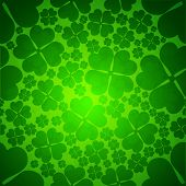 Irish four leaf lucky clovers seamless background for Happy St. Patrick's Day. EPS 10. poster