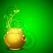 Happy St. Patrick's Day greeting card or background with golden pot and coins on green floral  background. EPS 10. poster