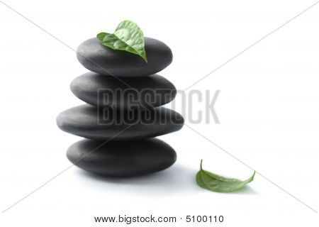 Zen Stones With Leaves Isolated. Spa Background