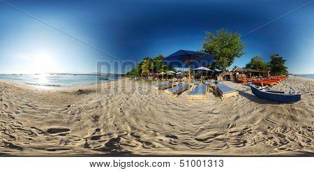 Spherical, 360 degrees panorama of tropical beach on the island of Trawangan, Indonesia poster