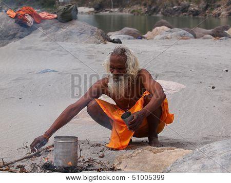 Sadhu On Ganges