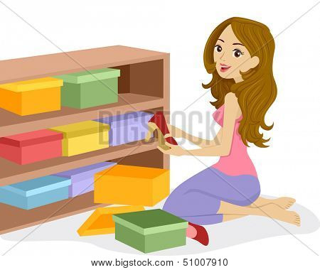 Illustration of a Woman Arranging Boxes of Shoes on a Wooden Shelf