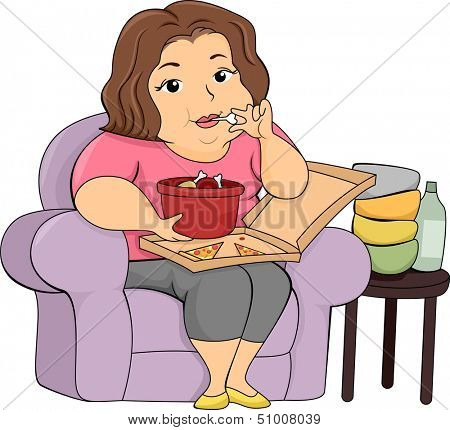Illustration of an Overweight Girl Eating Pizza and Chicken