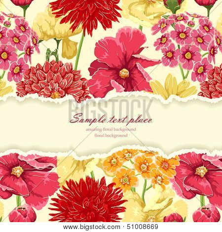 Floral background with tear paper