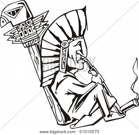 Native Shaman Smoking Tobacco-pipe