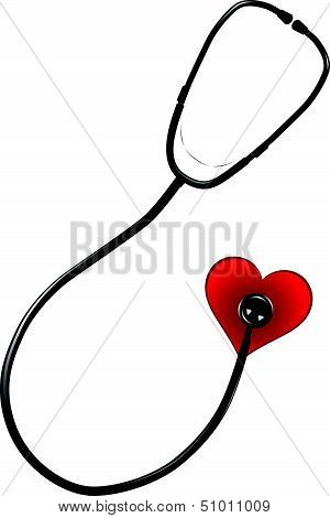 Cardiologist tool - stethoscope with a heart symbol. Vector illustration. poster