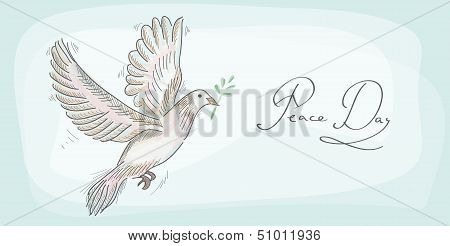 Hand drawn peace day symbol dove over texture background. EPS10 Vector file organized in layers for easy editing. poster