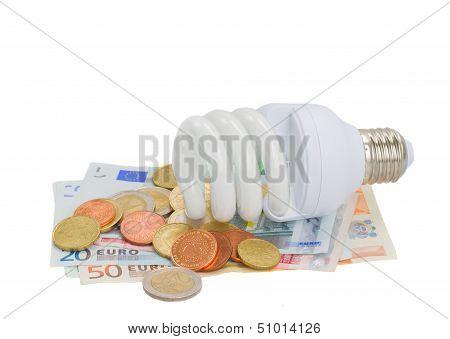 energy saving lamp bulb on euro money