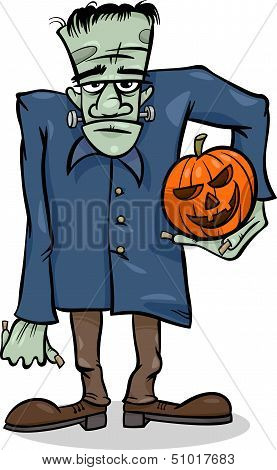 Halloween Frankenstein Cartoon Illustration