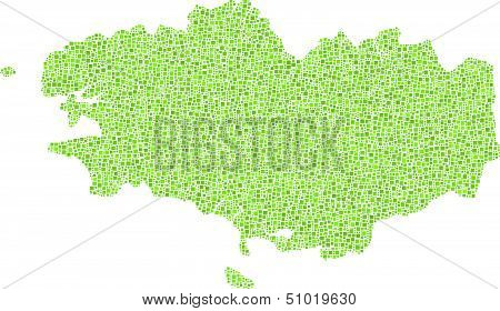 Isolated Map of Brittany - France -