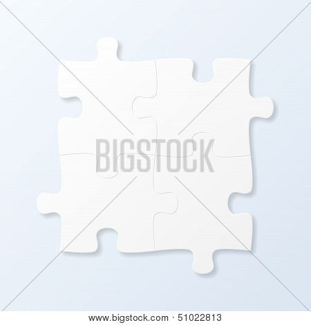 White Puzzle Pieces On The Neutral Background. Vector Illustration