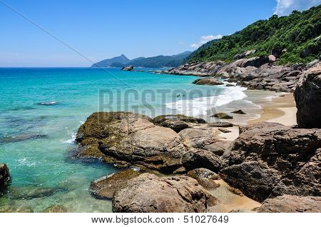 Swimming And Enjoying The Beach And Nature Of Lopes Mendes In Ilha Grande, Rio, Brazil. South Americ