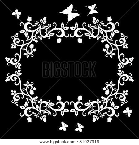 Vintage Ornament With Floral Elements For Invitation Or Greeting Card, Eps10