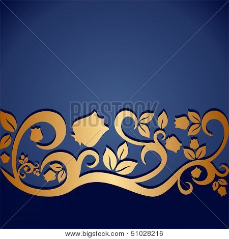 Blue Vintage Ornament With Floral Elements For Invitation Or Greeting Card