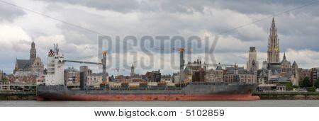 Panorama On Antwerp By The Scheldt