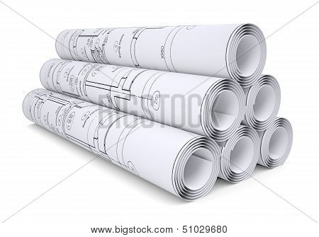 Scrolls of engineering drawings