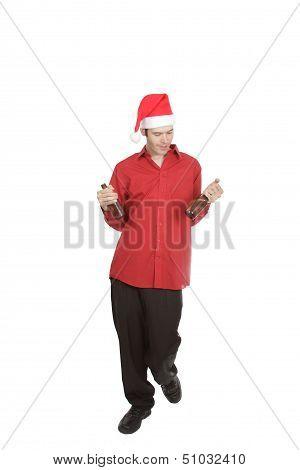Christmas Office Worker Admires Beer Bottle
