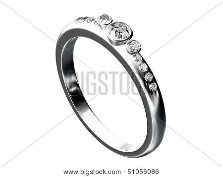 Silver Wedding Ring Isolated On White Background