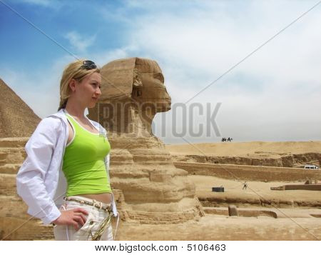 Girl Near Great Egyptian Sphinx
