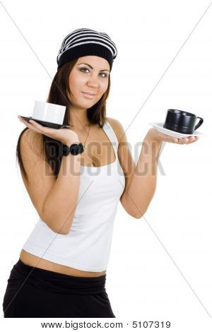 Woman With Black And White Cups