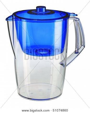 Blue water filtration pitcher