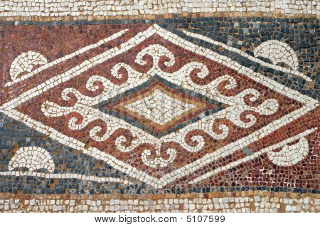 Detail Of An Ancient Mosaic. Caesaria, Israel.