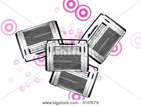 Old Black And White Vintage Retro Radios