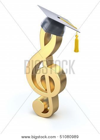 Treble clef with graduation cap