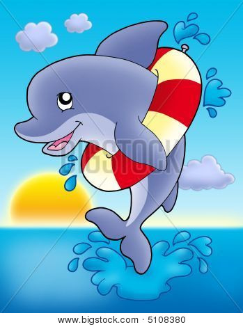 Jumping dolphin with inflatable ring - color illustration. poster