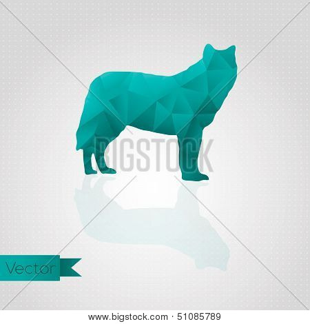 Abstract triangular wolf isolated on background. Seamless pattern poster