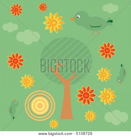 Retro style seamless background with tree sun clouds flowers and birds poster
