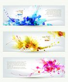 Set of three headers. Abstract artistic Backgrounds  poster