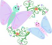 Here are two pastel Butterflies exploring the fresh green vines and flowers. poster