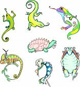 Stylized lizards and turtles. Set of color vector animal icons. poster