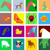 A set of colourful mixed animal and wildlife tile icons. poster