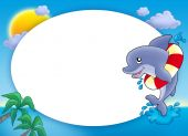 Round frame with jumping dolphin - color illustration. poster