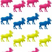 Abstract triangular moose isolated on a white background. Seamless pattern poster
