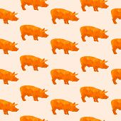 Abstract triangular pig isolated on a background. Seamless pattern poster