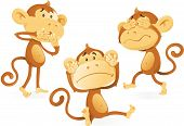 Vector illustration of three wise Monkeys acting out the age old saying and proverb of See no Evil Hear no Evil and Speak no Evil. poster