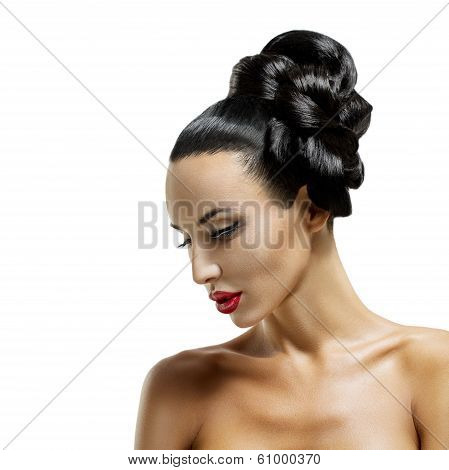High Fashion Model Girl Portrait with Trendy Fringe Hair style and Makeup. Long Black Fringe Hairstyle, Black Hair and Red Matte Lipstick. poster