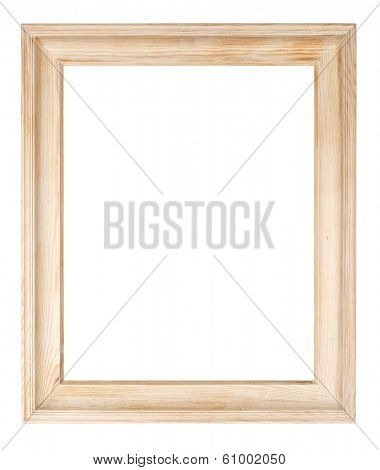 Raw pine picture frame isolated with clipping path.